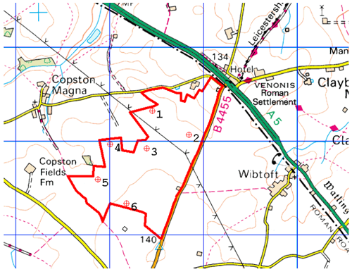 A map of the Copston Magna windfarm proposal
